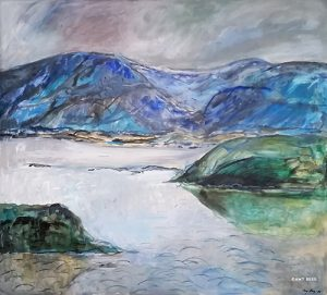 Borgundfjord. 92 x 100 cm. Olje på lerret. Med ramme.