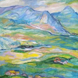Eresfjord. 72 x 60 cm. Olje på lerret. Uten ramme.